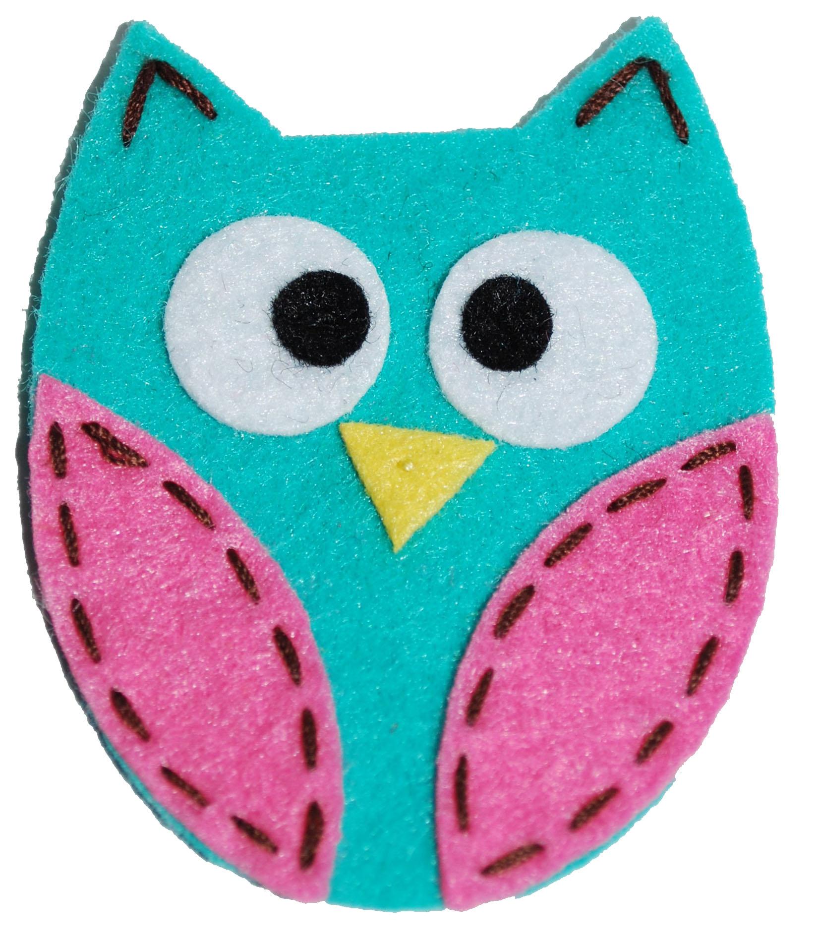 Felt Owl Clip     Turq...