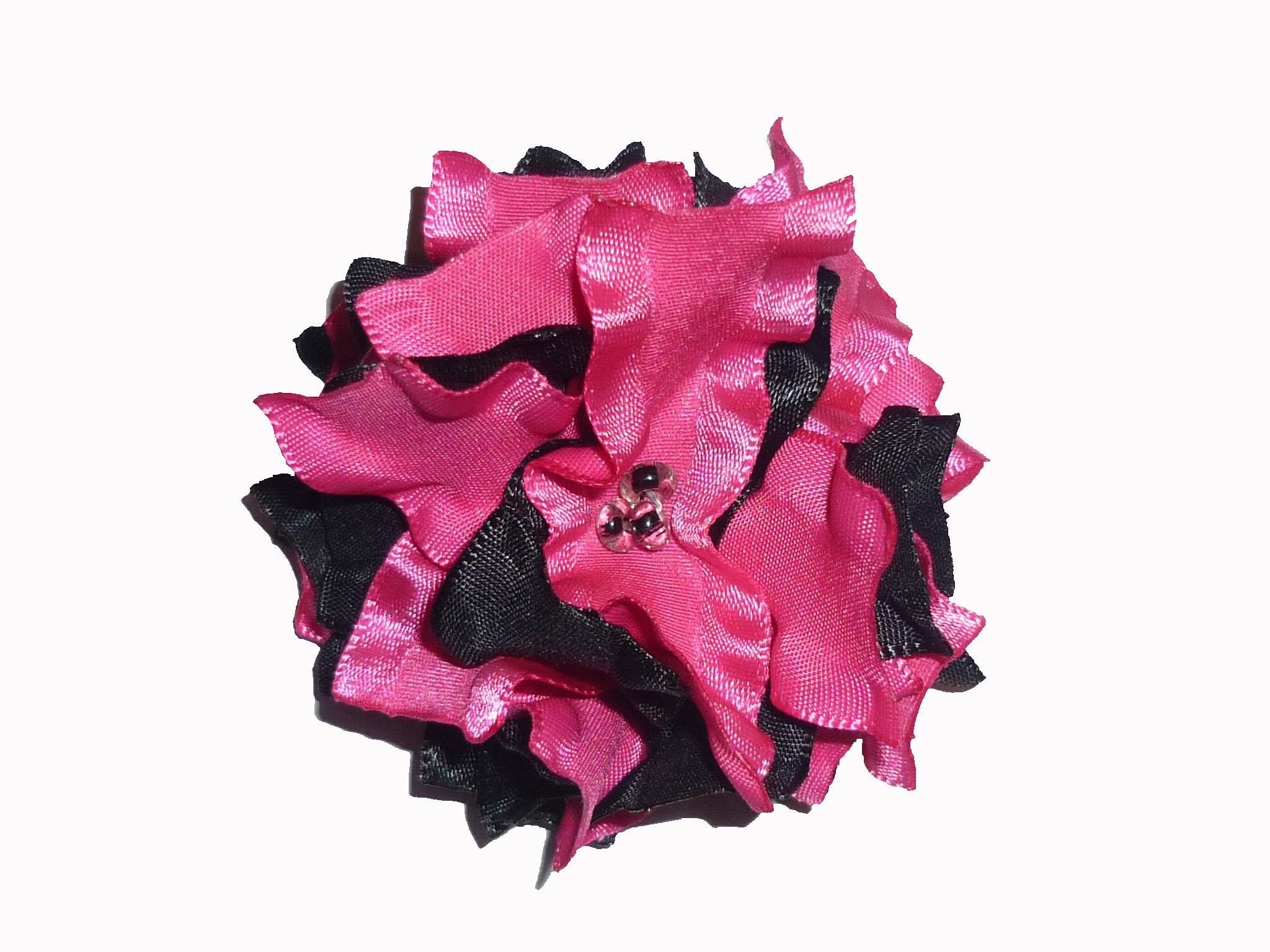 Ruffled Ribbon Flower Hot Pinkblack